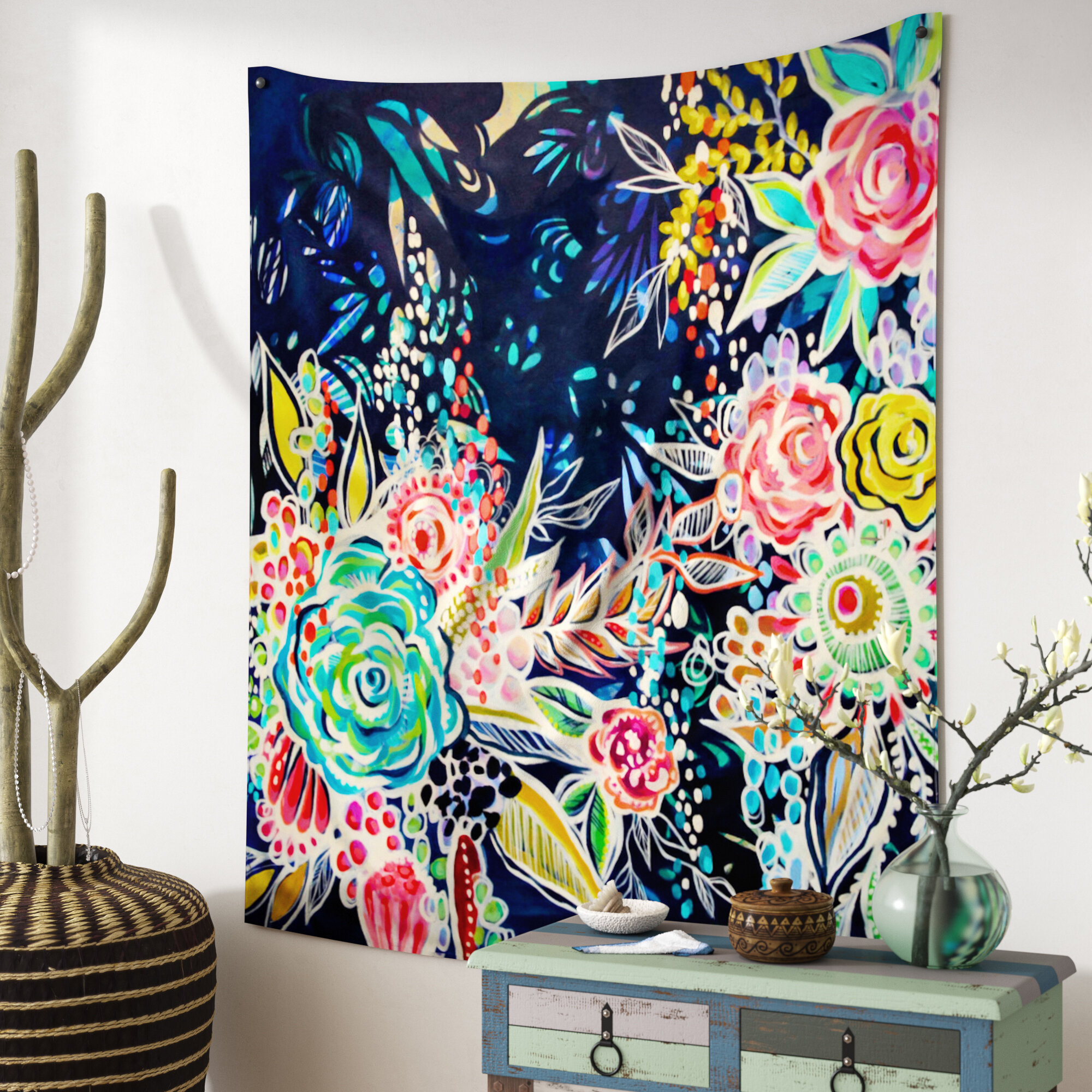 80X60 Spring Plant Tapestry Wall Hanging Green Leaves with Flowers on Brick Wall for Kid Wall Tapestry Art Beach Towel Tapestries for Home Decorations TV Backdrop Dorm Decor Living Room Bedroom