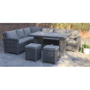 Crutchfield 4 Piece Rattan Sectional Set with Cushions by Rosecliff Heights