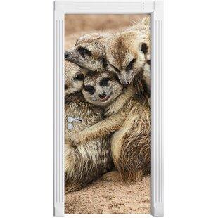 Cuddling Meerkats Door Sticker By East Urban Home