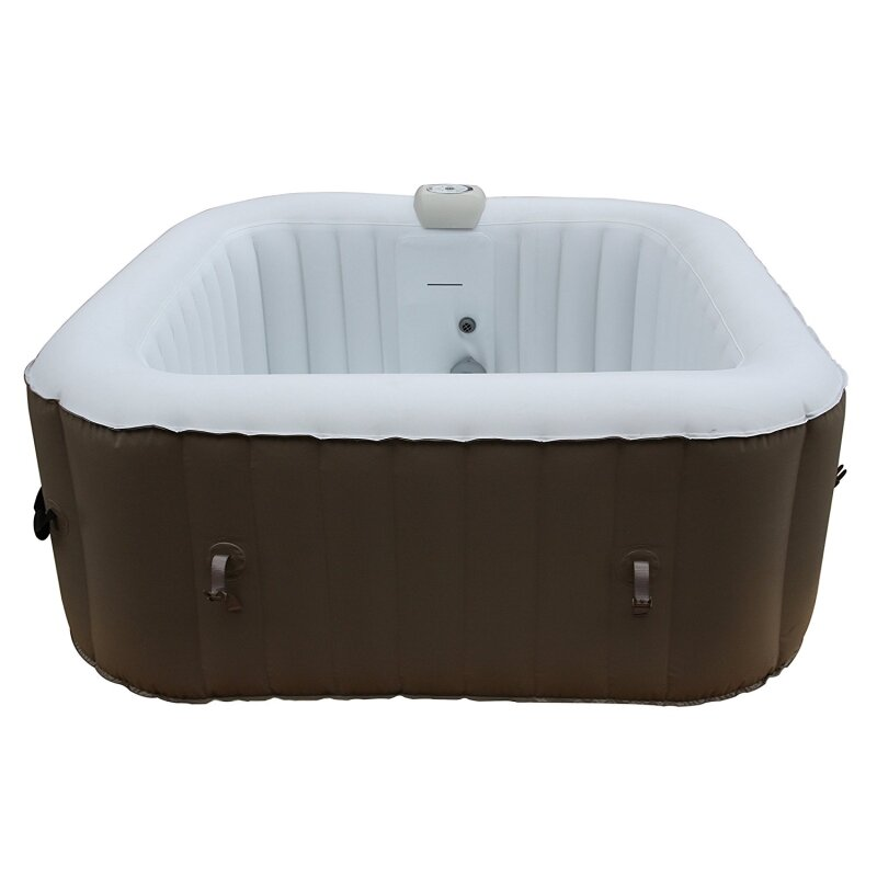 ALEKO Square Portable Hot Tub 4-Person Inflatable Plug and Play Spa ...