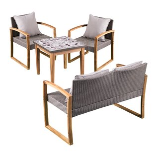 Greenport 4 Piece Teak Sofa Set with Cushions