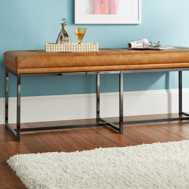 Fadrique Contemporary Tufted Top Metal Bedroom Bench