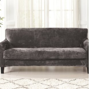 Velvet Plush Box Cushion Sofa Slipcover by Canora Grey Spacial Price