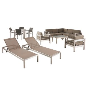 Smartt 13 Piece Rattan Complete Patio Set with Cushion