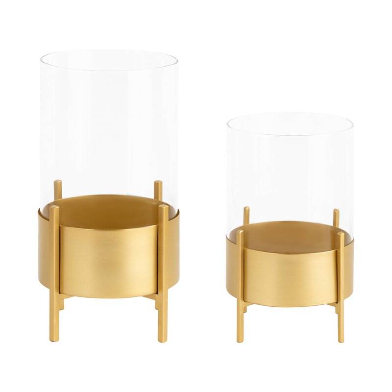 Orren Ellis Wayde 2 Piece Metal Tabletop Hurricane Set Wayfair