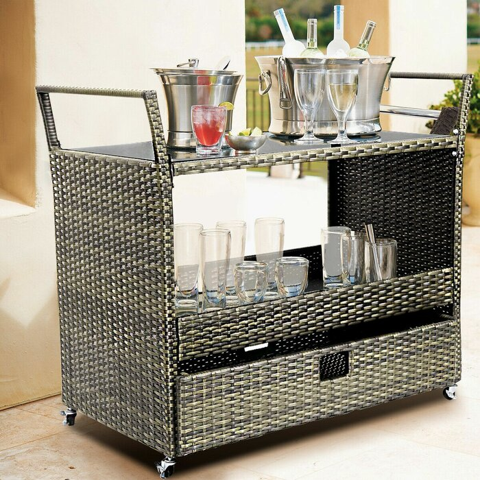Bangura Rolling Portable Kitchen Cart with Tempered Glass Top
