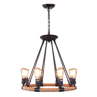 Read Reviews 8-Light Wagon Wheel Chandelier By LNC Home