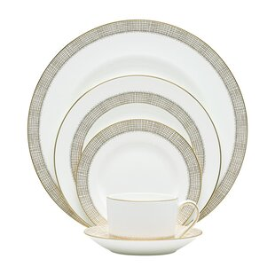 Gilded Weave Bone China 5 Piece Place Setting, Service for 1