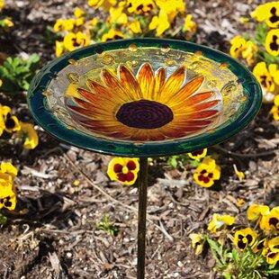 Evergreen Flag & Garden Sunflower Bloom Birdbath