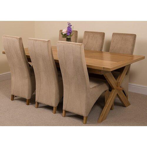 Baldev Kitchen Solid Oak Extendable Dining Set with 6