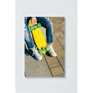 Skateboard Motif Magnetic Wall Mounted Cork Board By Ebern Designs