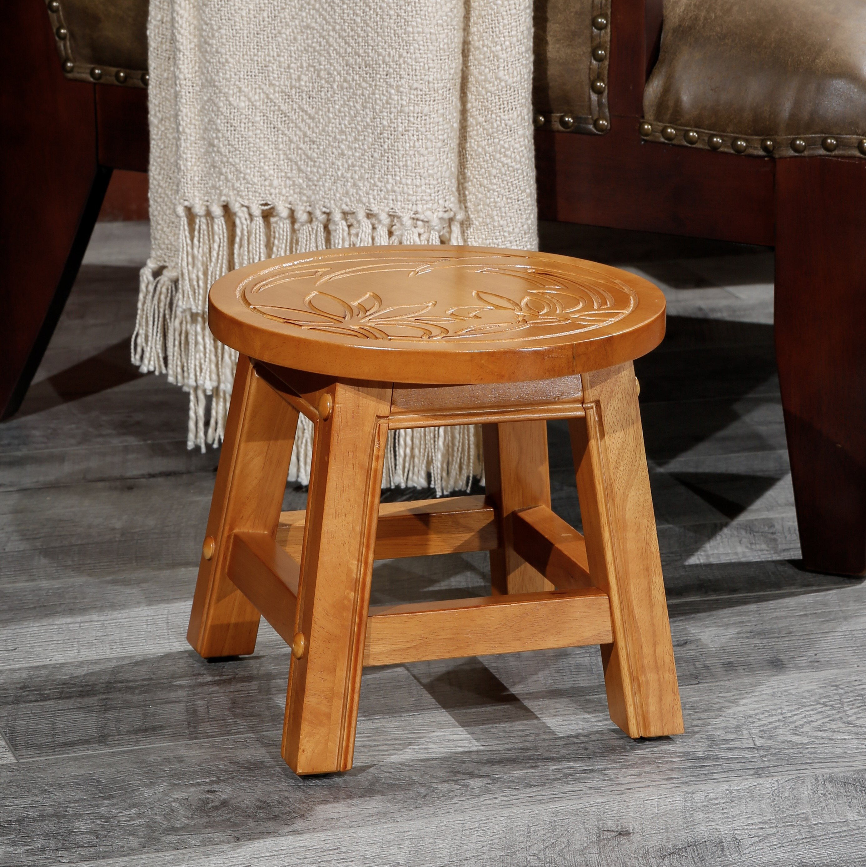 Bay Isle Home Charleigh Floral Fairplay Carved Wooden Accent Stool Wayfair