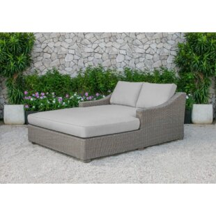 Brayden Studio Agora Outdoor Wicker Sunbed Chaise Lounge with Cushion