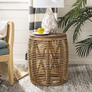 Top Amidon Rattan Drum End Table ByBungalow Rose