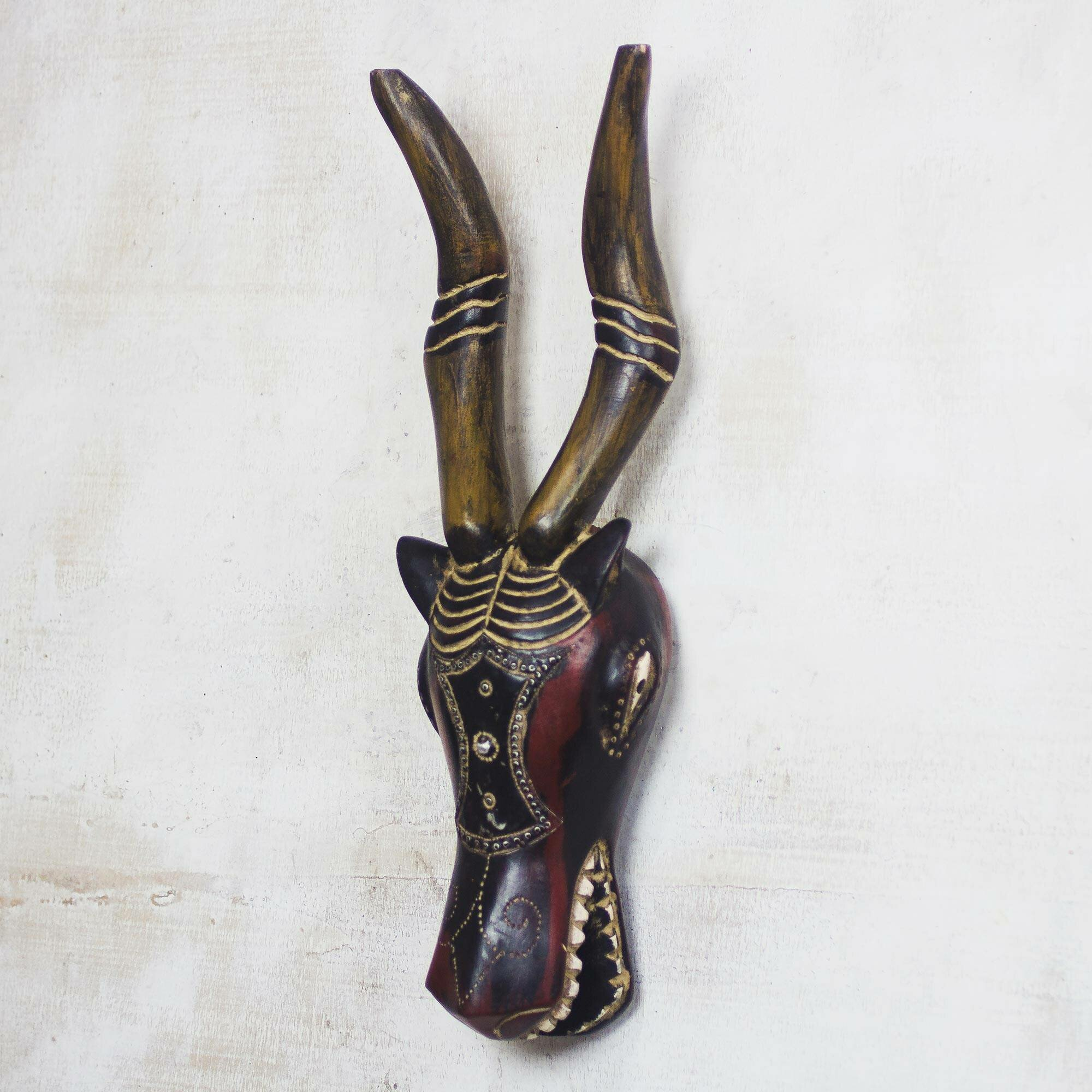 World Menagerie Deer Face African Wood Mask Wall Décor Wayfair