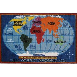 Supreme Kids World Map Classroom Blue Area Rug
