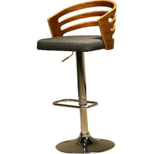 Modern Wood Adjustable Height Swivel Bar Stool