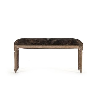 Arwood Cowhide Leather Bench by One Allium Way