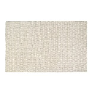 Look for Hand-Woven Rectangle White Area Rug By Foundry Select