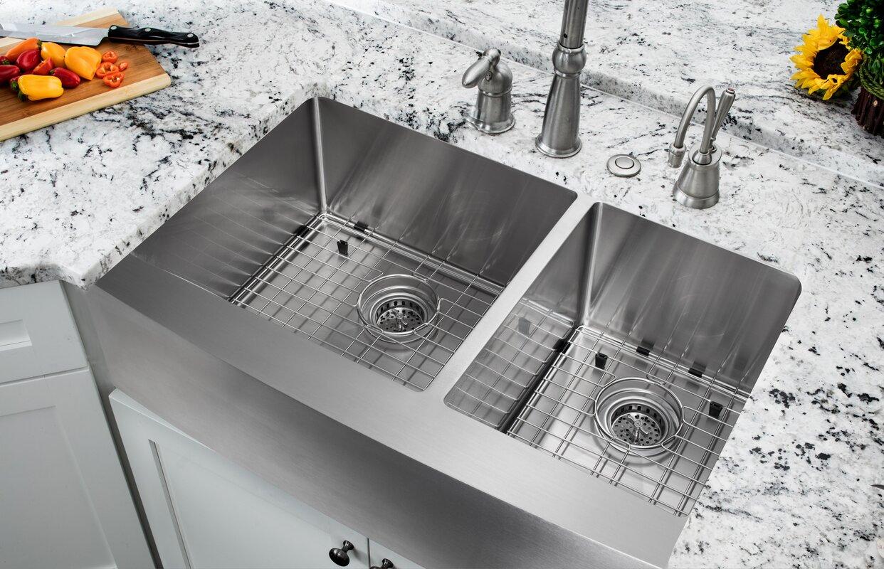 "soleil 35.875"" x 20.75"" double bowl farmhouse/apron kitchen sink"