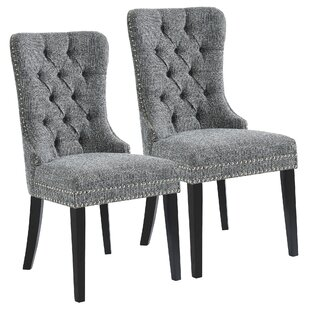 Meleze Multi Tone Fabric Upholstered Dining Chair (Set of 2) House of Hampton
