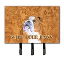 Bulldog English Wipe Your Paws Leash Holder and Key Holder by Caroline's Treasures
