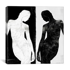 Modern Contrasting Silhouette Figure Graphic Art on Canvas