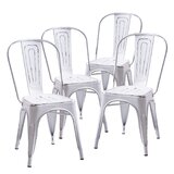 Hague Metal Slat Back Stacking Side Chair in Silver (Set of 4) by Williston Forge