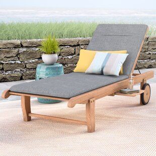 Elsmere Reclining Teak Chaise Lounge with Cushion and Table