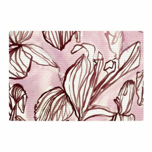 Danii Pollehn Palm Tree Illustration White/Black Area Rug