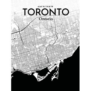 toronto city map graphic art print poster in ink