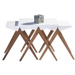 Bodnar Lightweight Stackable Triangular 3 Piece Nesting Tables