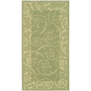 Alberty Indoor/Outdoor Maribelle Olive/Natural Area Rug
