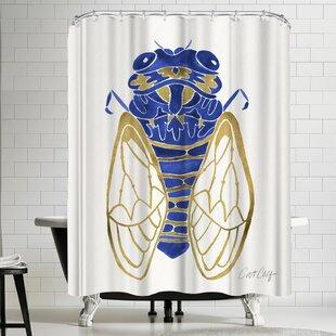 Navy Cicada Shower Curtain