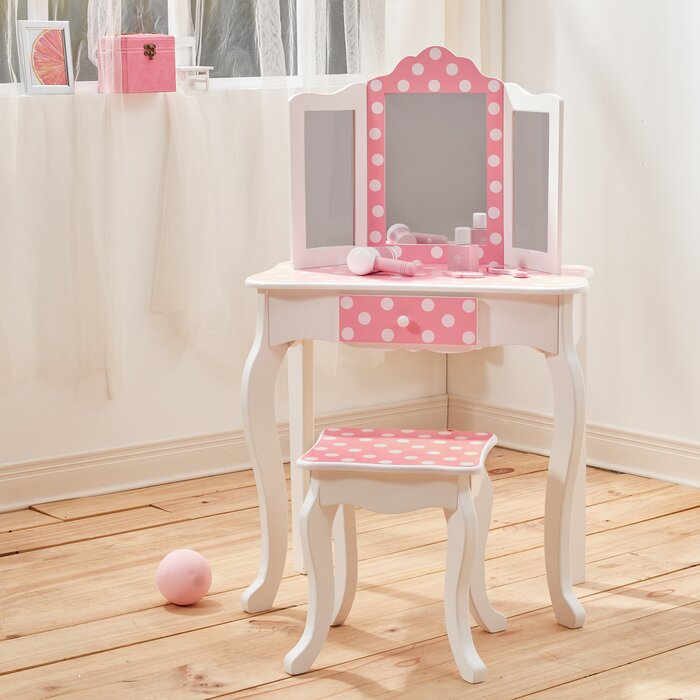 online store 7a089 49ca0 Gisele Vanity Table and Stool Set with Mirror in Polka Dot