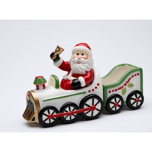 Santa Driving on The Train Salt and Pepper Set with Sugar Pack Holder