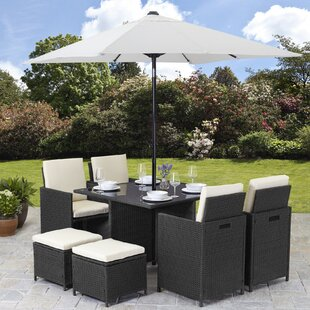 Powellsville 8 Seater Dining Set with Cushions and Parasol by Lynton Garden