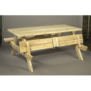 Square Cedar Wood Picnic Table by Rustic Natural Cedar Furniture Today Sale Only