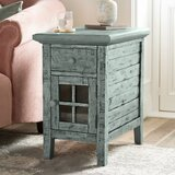 Eau Claire Solid Wood End Table with Storage and Built-In Outlets