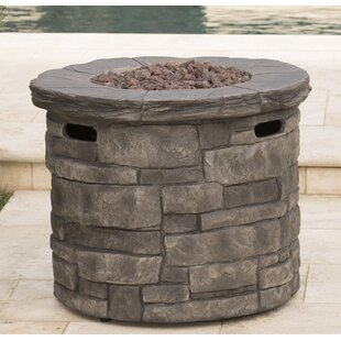 17 Stories Cooksey Stone Propane Fire Pit Table