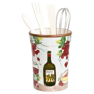 5 Piece Grape Ceramic Utensil Crock Set