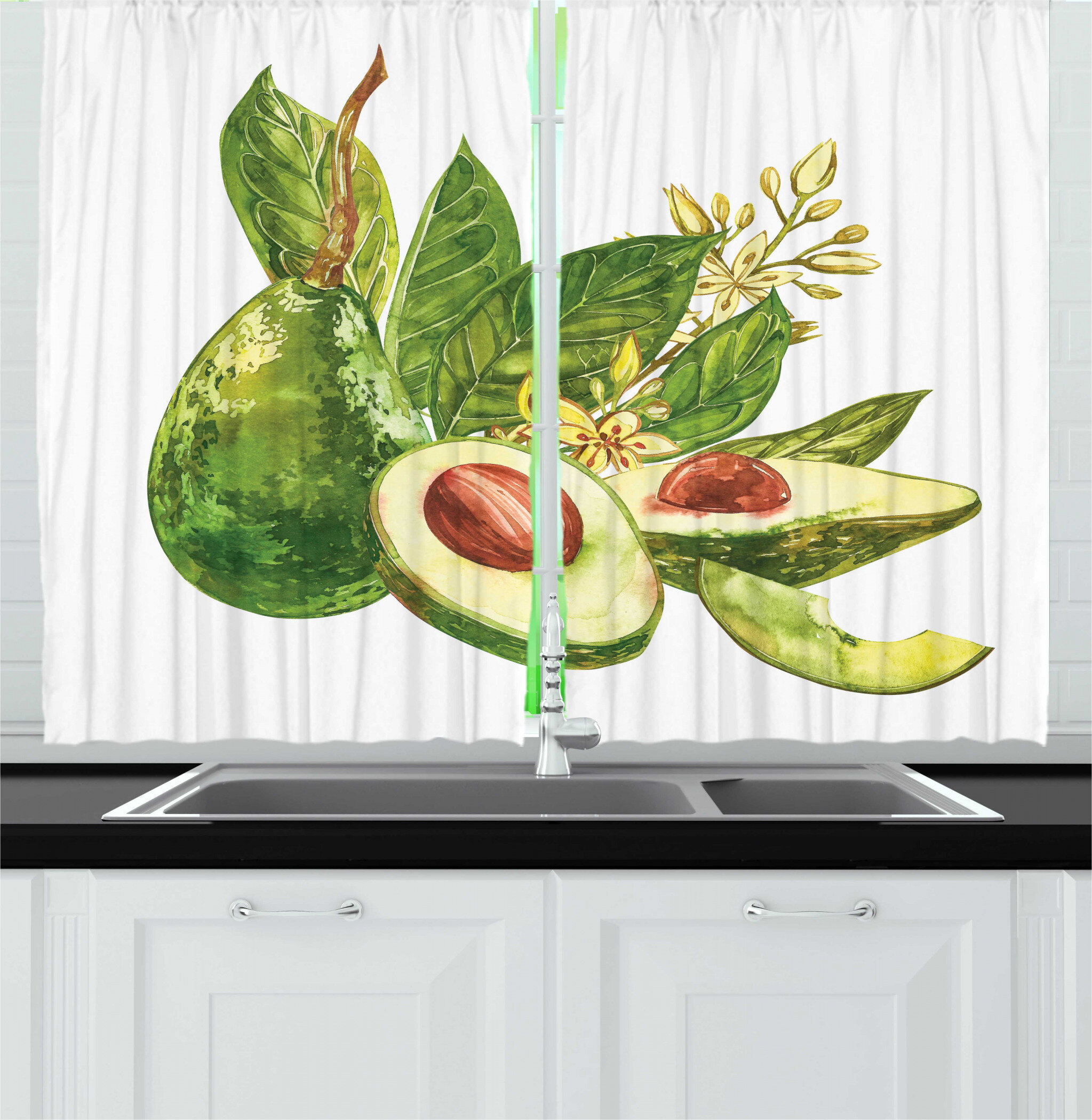 East Urban Home 2 Piece Avocado Watercolor Style Healthy Green Fruit Kitchen Curtain Set Wayfair