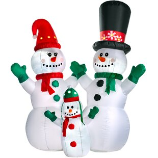 Pre-Lit Flashing Snowman Family Inflatable By The Seasonal Aisle