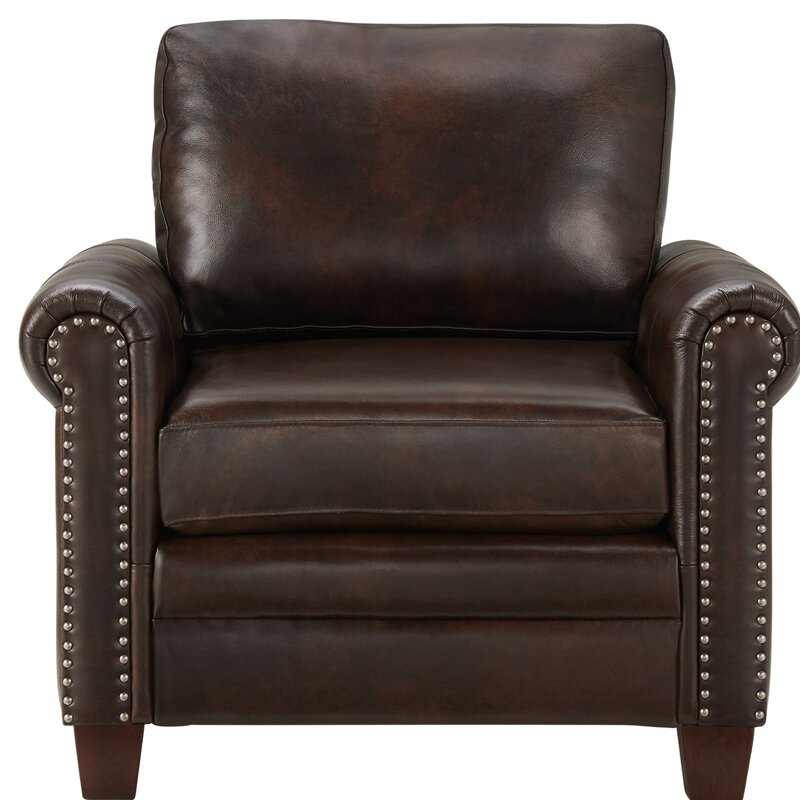 Canora Grey Marlow Stationary Leather 24 Quot Club Chair Wayfair