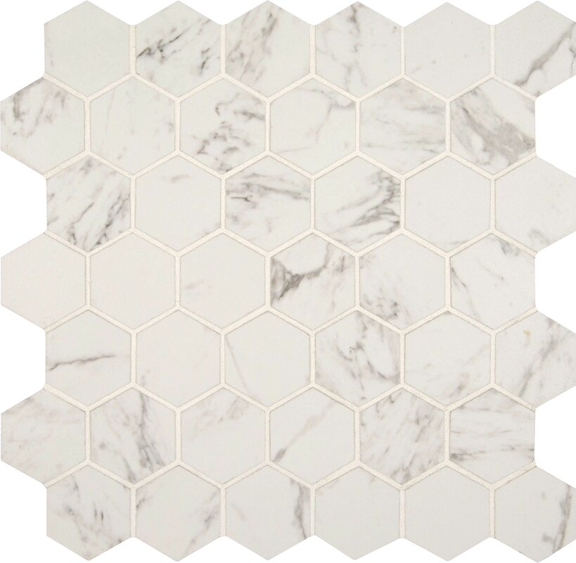 Carrara 2 X Hexagon Porcelain Mosaic Tile
