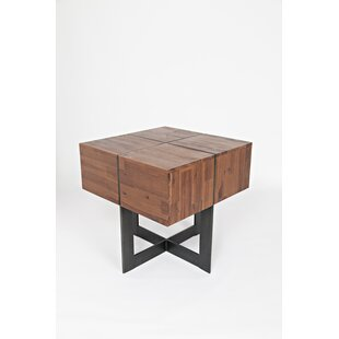 Io Transitional Wooden Floating End Table by 17 Stories