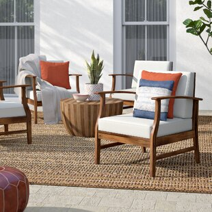 Drage Modern Outdoor Wood Patio Chair with Cushions (Set of 4)