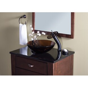 Bargain TY Glass Circular Vessel Bathroom Sink with Faucet By Novatto