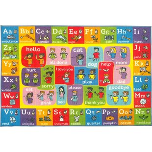 Perri ABC Alphabet ASL Sign Language Red/Pink Indoor/Outdoor Area Rug