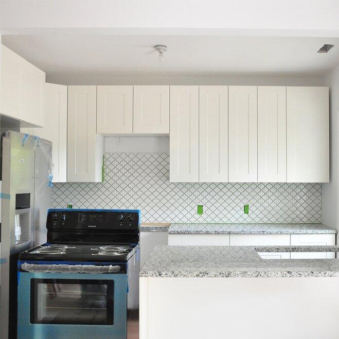 Fully installed backsplash tile & How to Install Kitchen Backsplash Tile | Wayfair